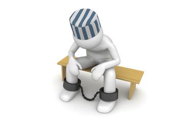 Prisoner on a bench