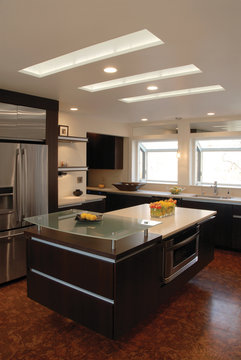 kitchen island with skylights