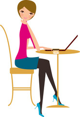 Girl with laptop and coffee cup