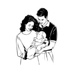 parent naissance, illustration