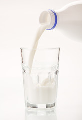Milk pouring in glass