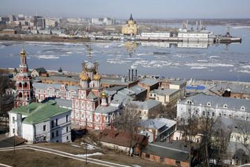 View of Niznhy Novgorod in spring in april
