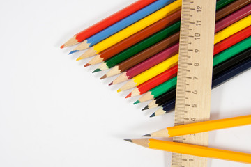 colored pencils and a ruler
