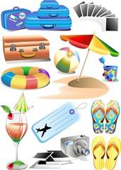 Spiaggia e Mare-12 Elementi Vettoriali