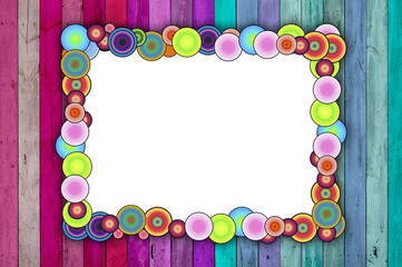 Multicolored Frame on Pink and Blue Background