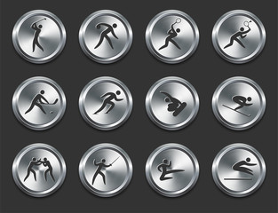 Sport Athletes Icons on Metal Internet Buttons