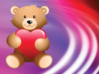 Teddy Bear on Abstract Liquid Wave Background