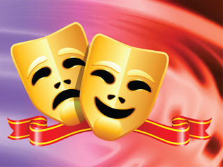 comedy and tragedy masks on Abstract Liquid Wave Background