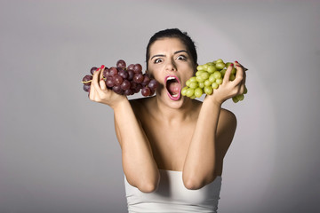 Woman with mix of grapes