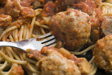 Close up of Spaghetti and Meatballs