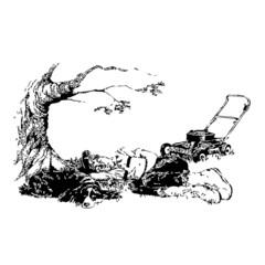 jardinage, repos, illustration