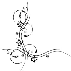Ranke, floral, filigran, Blumen, Blüten, schwarz