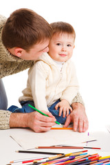 Dad drawing with son