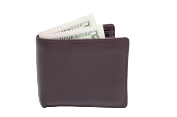 Purse with money isolated on a white background.