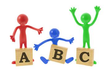 Rubber Figures with Alphabet Blocks