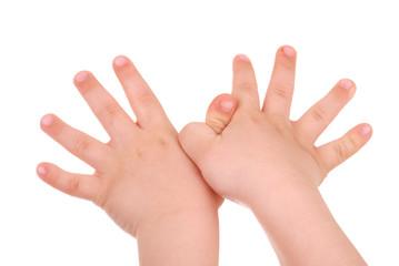 Children's hand on white background