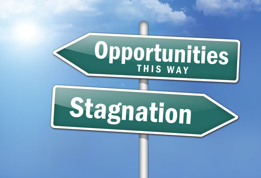 """Way Signs """"Opportunities, This Way - Stagnation"""""""