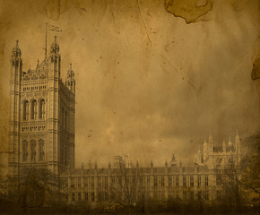 London. Vintage Westminster Abbey. House of Parliament
