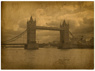 London. Old photo tower bridge with spots and traces of time