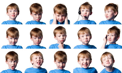 Boy with many expressions