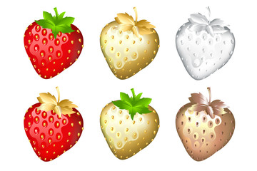 Strawberry Set, Isolated On White