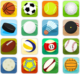 Set of ball icons, sport