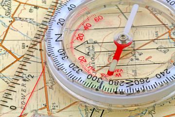 close up map compass