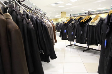 collection of leathers in store. focus on first column