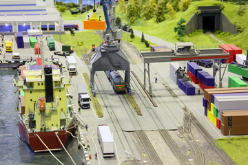 model of railroad station and sea port.