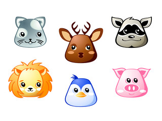 Cute baby cat, deer, raccoon, lion, penguin and pig