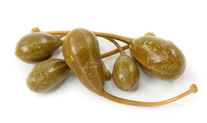 Pickled caperberries isolated on the white background