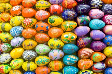 Wooden easter eggs background.