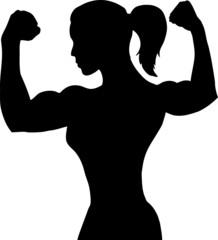 Outline of a female bodybuilder