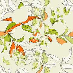 Retro stylized seamless  pattern with leaves