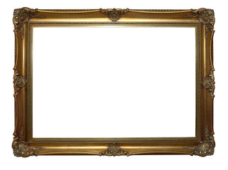 Antique wooden and gilded frame on a white background