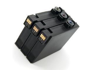 close-up shot of a CMYK ink cartridges for a printer