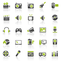 green entertainment icons - set 11