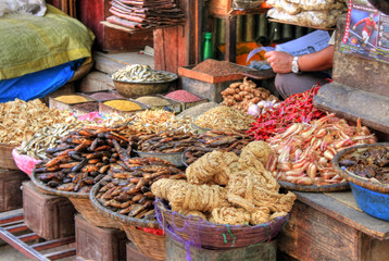 Spices on a market in Kathmandu