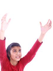 child reaching high