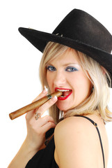 Cowgirl with cigar