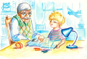 Homework with grandpa.