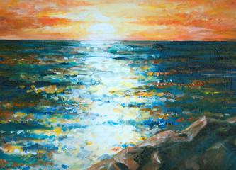 Sea acrylic painted.
