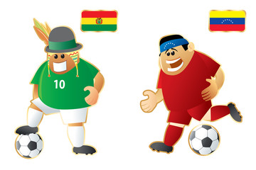 Football macots Bolivia Venezuela