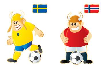 Football macots Sweden Norway