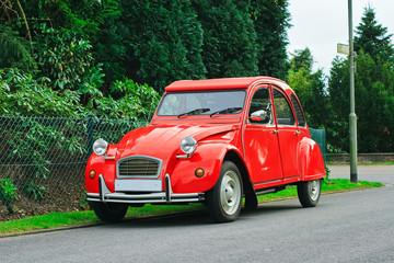 Classic red retro car.