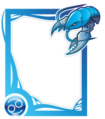 Cancer, the fourth sign of the zodiac frames, vector