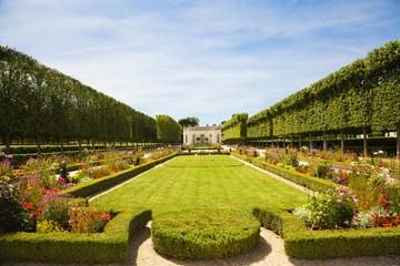French garden in Marie-Antoniette's Estate. Versailles Chateau