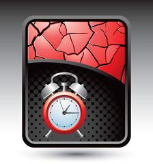 alarm clock red cracked background