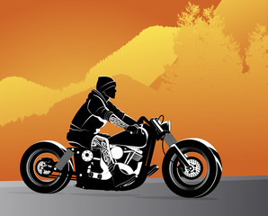 Poster Motorcycle Chopper motorcycle vector with rocker on it with tattoo