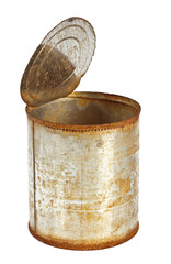 Rusty tin can with top opened isolated on white